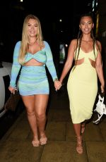 Shaughna Phillips & Sophie Piper Seen leaving The I Saw It First Love Island Party at Rosso Restaurant in Manchester