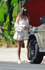 Shay Mitchell In all white as she visits a movie set with her adorable daughter Atlas in Los Feliz
