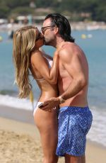 Sylvie Meis Shows her incredible body in a white bikini at a beach day in Saint Tropez