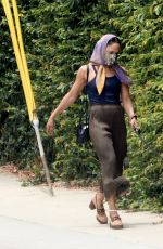 Tessa Thompson Goes incognito wearing a mask and scarf while out walking her dog in Hollywood