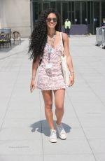 Vick Hope Looks fabulous in a patterned dress as she begins preparations to replace Nick Grimshaw at BBC Radio 1 in London