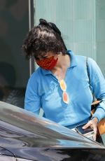 Alia Shawkat Gets dressed in a pair of black shorts and a blue top for a sunny outing in Los Feliz