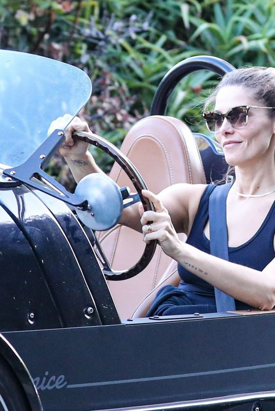 Ashley Greene Headed out to lunch in a kooky Vanderhall Venice sports car in Venice Beach