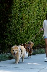 Aubrey Plaza Out for a walk with her two dogs in Los Feliz