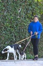 Ava Elizabeth Phillippe Enjoys a solo morning walk with her two pups in Los Angeles