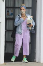 Busy Philipps Rocks pink overalls as she stops by her stylist