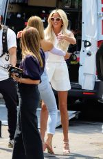Chrishell Stause Welcomes new cast member Emma Hernan to a filming of Selling Sunset Season 4 in Beverly Hills