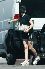 Emmy Rossum Wears an all black outfit as she goes shopping at Balayage By Gigi boutique salon in West Hollywood