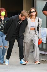 Hailey Bieber (Baldwin) Looks stylish arriving for a churchome service in Beverly Hills