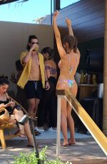 Haley Kalil Hanging out by the pool inside the Elia beach club in Las Vegas
