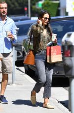 Jordana Brewster Pictured at the Brentwood Country Mart during a coffee run in Brentwood