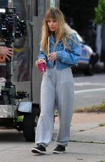 Kaley Cuoco Seen filming with her body double for the film Meet Cute in Brooklyn, New York