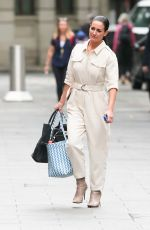 Kirsty Gallacher Looks chic in cream jumpsuit at Smooth Radio in London