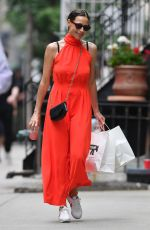 Minnie Driver Stuns in a red maxi dress in New York
