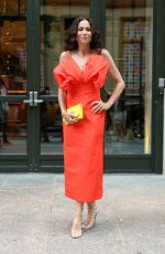 Minnie Driver Wears a red Carolina Herrera dress with yellow bag for the premiere of