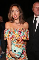 Myleene Klass add a touch of glamour in floral summer dress and black suit for the Jersey Boys gala night in London