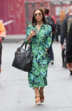 Myleene Klass Looks chic in a floral green dress at Smooth Radio in London