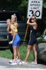 Nina Agdal Heading to a yoga class with friends in The Hamptons
