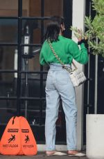 Olivia Culpo Meets up with a friend as she exits a hair salon with wet hair in West Hollywood