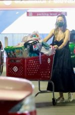 Olivia Wilde Emerges with two full shopping carts after shopping with a friend at Target in Los Angeles