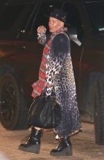 Pink Flashes a peace sign leaving after dinner with her family at Soho House in Malibu