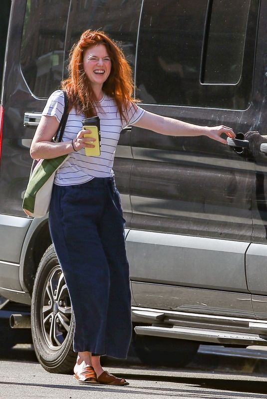 Rose Leslie Looks happy after she grabs coffee with a friend in New York