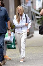 Sarah Jessica Parker Is photographed arriving at the set of And Just Like That the Reboot for Sex And The City in New York