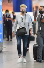Sharon Stone Spotted touching down at JFK Airport in New York
