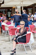 Sharon stone Taking part in a Dolce and Gabbana photoshoot at St. Marks square in Venice