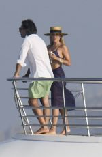 Sylvie Meis And Niclas Castello dispaying PDA in a yacht in Porto Cervo