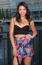 Vanessa Bauer Poses in a tiny cropped top and mini skirt at the Six by Nico restaurant launch in Canary Wharf in London