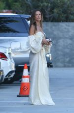 Alessandra Ambrosio Wears a sexy shoulder-less dress and heels while waiting for a limo with friends for a party in Malibu