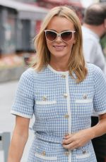 Amanda Holden Looks chic in checkered short dress and stylish shoes at Heart radio in London