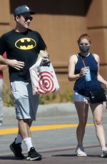 Ariel Winter Grabs a smoothie in a pair of tiny white yoga shorts in Los Angeles