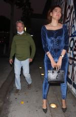 Blanca Blanco and her partner John Savage arrive for dinner at Craig