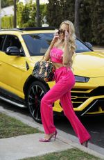 Christine Quinn Channels her inner Paris Hilton circa 2002 vibe in a bright pink Juicy couture tracksuit on set filming a commercial in Beverly Hills