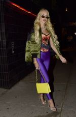 Christine Quinn Displays a flamboyant outfit as she leaves Catch restaurant in Soho