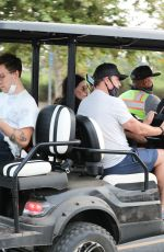 Courteney Cox Is spotted being transported on a golf cart as the 57-year-old Friends alum attends the Malibu Chili Cook Off