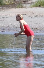 """Diane Kruger In a hot red bathing suit on the beach while on the set of """"Out of the Blue"""" in Warwick, Rhode Island"""