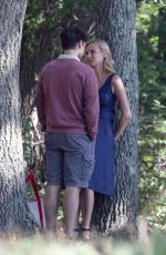 """Diane Kruger & Ray Nicholson embrace and kiss on the set of """"Out of the Blue"""" in Providence, Rhode Island"""