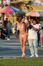 Jaquinha In a skimpy 138 Bikini while shooting a DJ Colleen Shannon / Soulfeng sneakers ad with the LA Shuffle Squad in Venice Beach