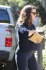 Jennifer Garner Is in a jovial mood as she meets with her team at the construction site of her future home in Brentwood