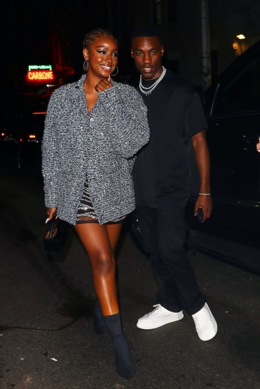 Justine Skye Enjoys dinner at Carbone with other Celebs in New York
