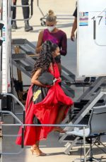 Kenya Moore Pictured backstage at the filming of Dancing With The Stars in Los Angeles