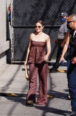 Kristen Bell Rocks a brown pantsuit as she arrives at Jimmy Kimmel Live in Hollywood