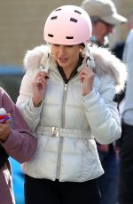 Michelle Keegan Films scenes for the Sky TV Drama Brassic in Bacup Lancashire