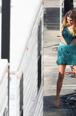 Olivia Jade Giannulli Stuns in a green gown and glam as she makes her first appearance filming on the DWTS in Los Angeles