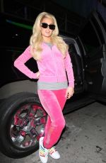 Paris Hilton Dons her favorite color while arriving at The Blonds Fashion Show in New York City