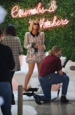 Paris Hilton Finishes filming at Crumbs & Whiskers   Kitten & Cat Cafe on Melrose Ave in Los Angeles
