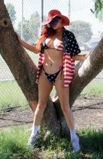 Phoebe Price Posing in a American flag bikini on Labor Day in Los Angeles